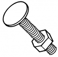 Garage Door Carriage Bolt W/Nut
